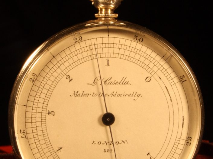 SILVER POCKET MOUNTAIN BAROMETER ALTIMETER BY CASELLA c1863