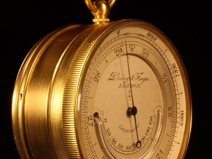 POCKET MOUNTAIN BAROMETER ALTIMETER COMPENDIUM BY DRING & FAGE c1890 - Sold