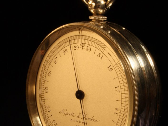 SILVER POCKET BAROMETER BY NEGRETTI & ZAMBRA c1863