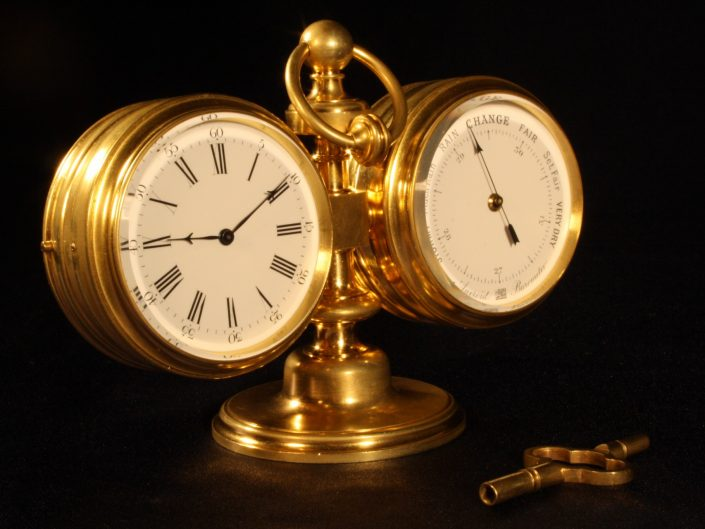 BAROMETER & CLOCK DESK COMPENDIUM BY ANTOINE REDIER c1870 - Sold