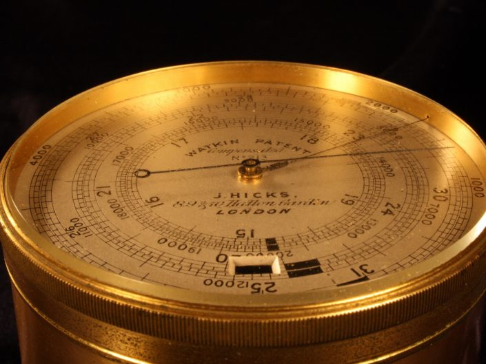 WATKIN PATENT EXTENDED SCALE BAROMETER ALTIMETER BY HICKS No 213 c1887