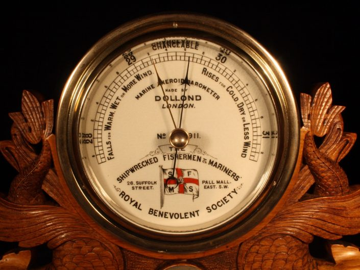 SHIPWRECKED FISHERMEN & MARINERS SOCIETY PRESENTATION MARINE BAROMETER BY DOLLOND c1917 - Sold