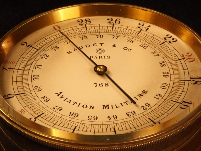 WWI FRENCH MILITARY AVIATION ALTIMETER BY NAUDET c1915 - Sold