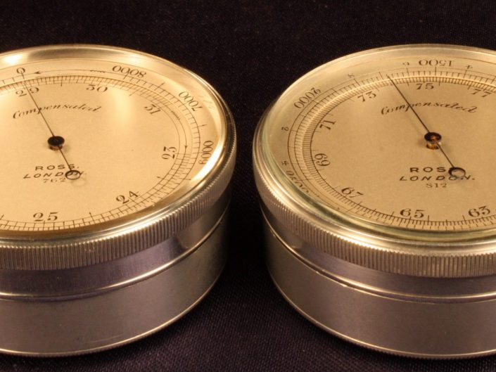 PAIR OF ALUMINIUM POCKET MOUNTAIN BAROMETER ALTIMETERS BY ROSS