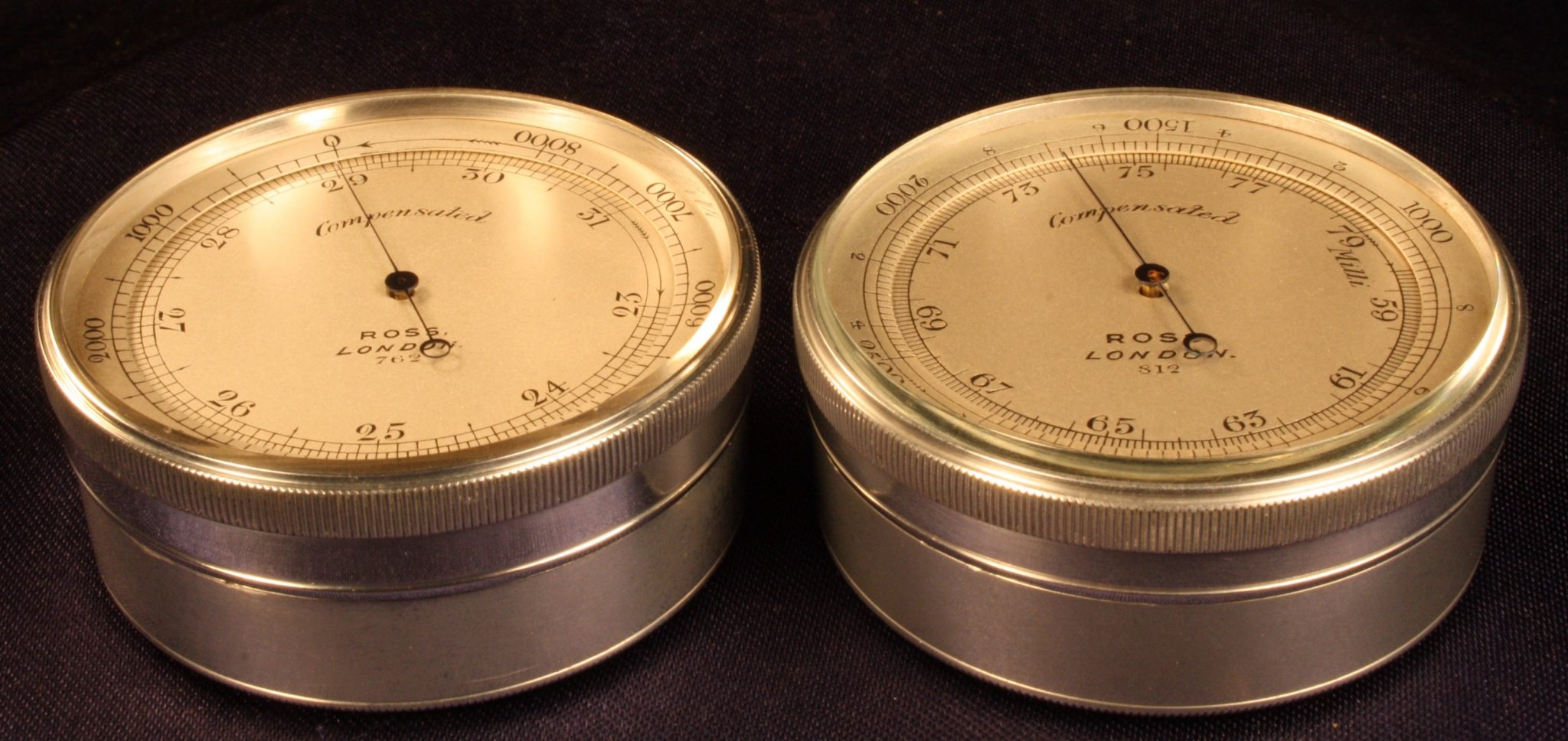 Image of Ross Pocket Barometer Altimeters, Imperial (l) & Metric (r)