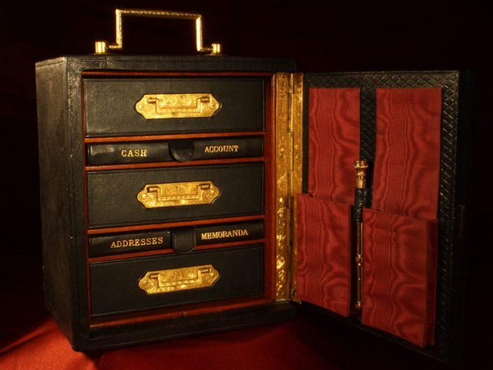 GENTLEMANS LEATHER TRAVELLING SAFE BOX DESK COMPANION c1870 - Sold