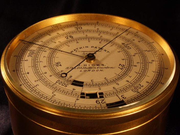 WATKIN PATENT EXTENDED SCALE BAROMETER ALTIMETER BY HICKS No 354 c1888
