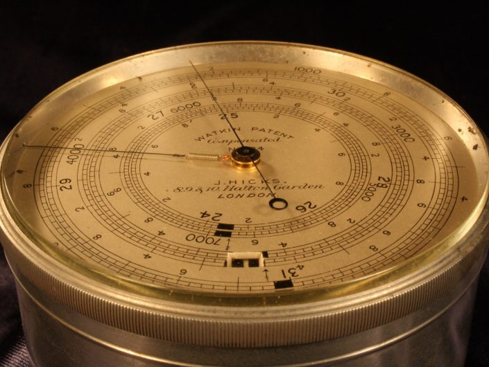 WATKIN PATENT EXTENDED SCALE BAROMETER ALTIMETER BY HICKS No 934 c1890
