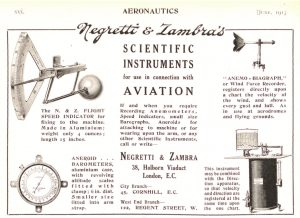 Image of Advert for Negretti & Zambra Aviation Altimeter c1912