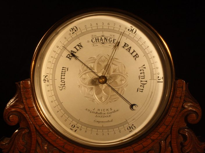 LARGE MANTLE BAROMETER BY HICKS IN CARVED OAK STAND c1890