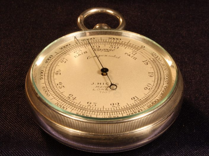 SILVER POCKET BAROMETER ALTIMETER BY HICKS No 7702 WITH CASE BY OLIVER c1905