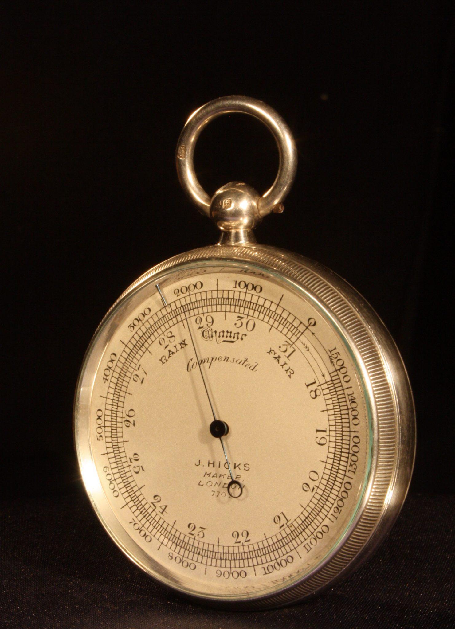 Image of Silver Pocket Barometer by Hicks