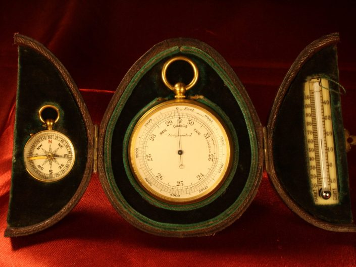 LATE VICTORIAN POCKET BAROMETER TRAVEL COMPENDIUM c1905