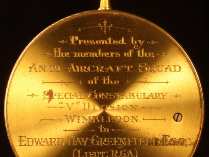 PRESENTATION BAROMETER BY ROSS TO A ROYAL GARRISON ARTILLERY OFFICER c1918