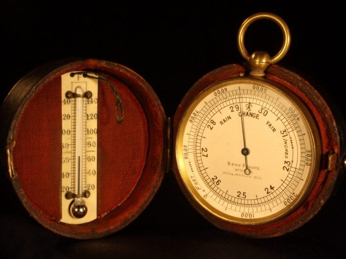 POCKET BAROMETER THERMOMETER COMPASS COMPENDIUM BY NEGRETTI & ZAMBRA c1906 - Sold