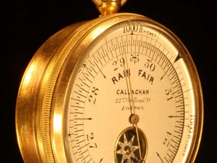 POCKET BAROMETER ALTIMETER WITH INSET COMPASS BY CALLAGHAN c1870