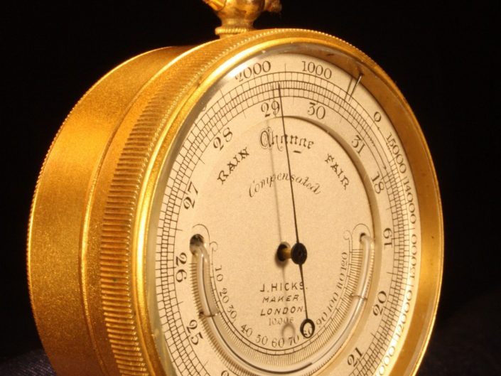 POCKET BAROMETER ALTIMETER WITH THERMOMETER BY HICKS c1890