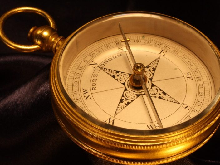 GILT BRASS POCKET COMPASS BY ROSS c1880