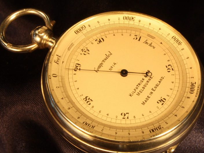 SILVER POCKET BAROMETER BY SHORT & MASON WITH CASE BY OLIVER c1910