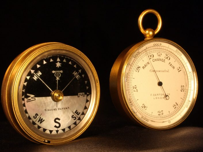 POCKET BAROMETER COMPASS COMPENDIUM BY DARTON c1910