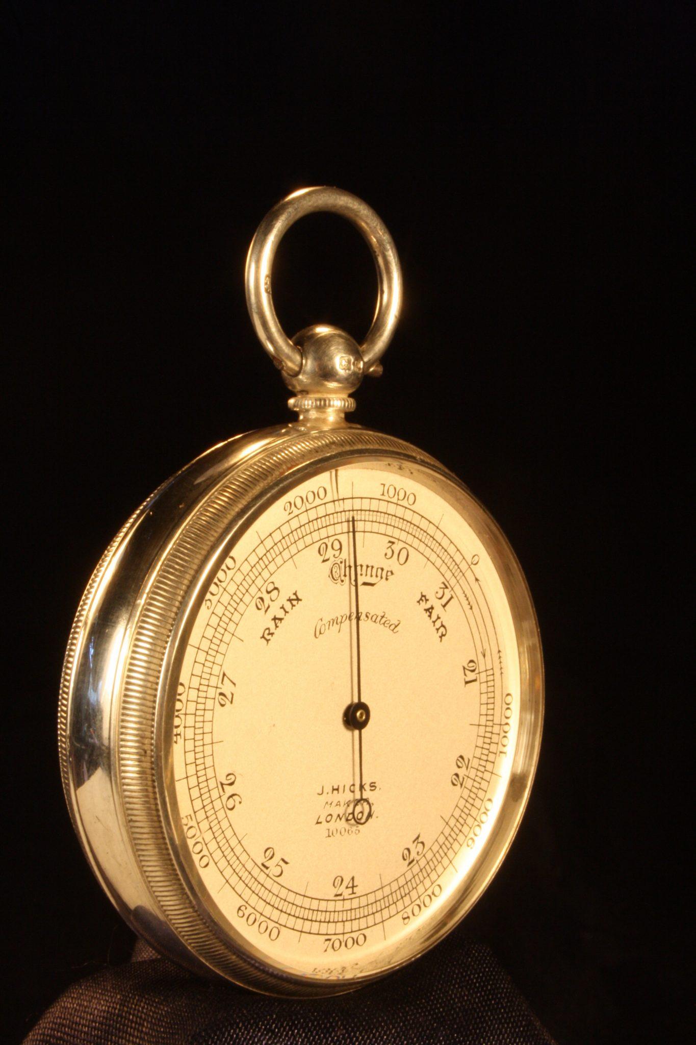Image of Silver Hicks Pocket Barometer No 10065 c1912