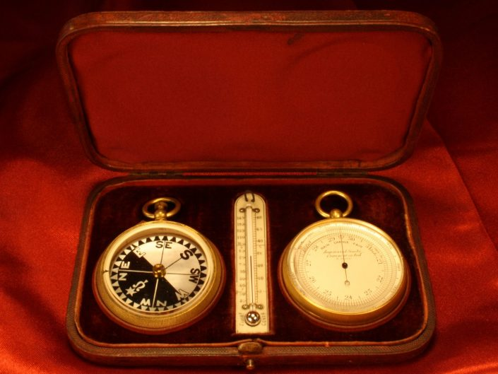 POCKET BAROMETER COMPASS THERMOMETER COMPENDIUM BY NEGRETTI & ZAMBRA c1895