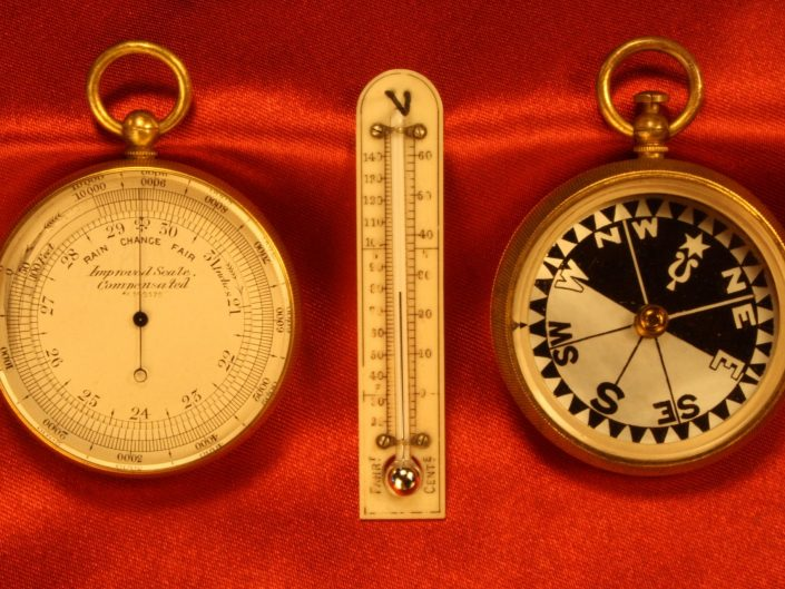 POCKET BAROMETER COMPASS THERMOMETER COMPENDIUM BY NEGRETTI & ZAMBRA c1900