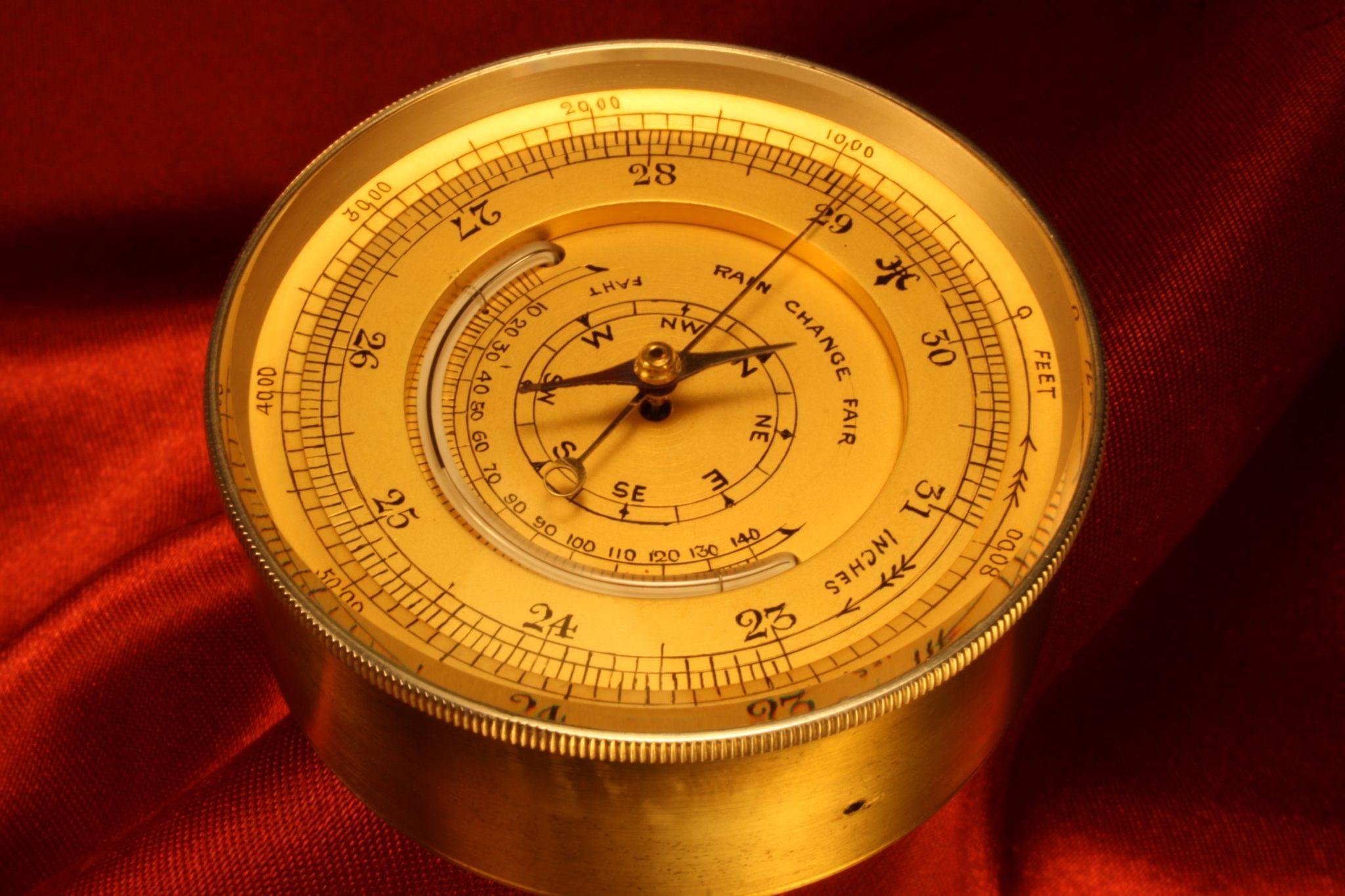 Image of Silver Pocket Barometer Compendium c1900