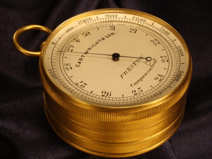 POCKET BAROMETER THERMOMETER COMPASS COMPENDIUM BY CARTWRIGHT c1880