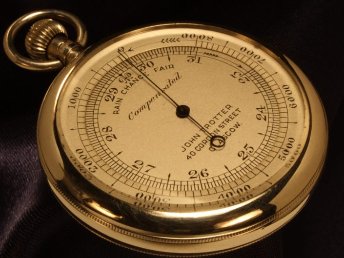 SILVER POCKET BAROMETER BY NEGRETTI & ZAMBRA WITH CASE BY OLIVER c1913