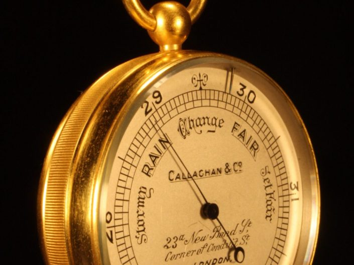 GILT BRASS POCKET BAROMETER  BY CALLAGHAN No 8422 c1900