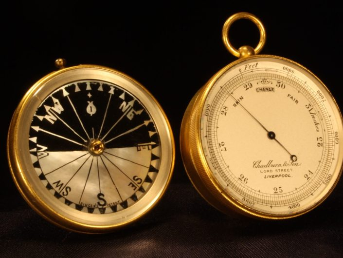 POCKET BAROMETER ALTIMETER COMPASS COMPENDIUM BY CHADBURN & SON c1870