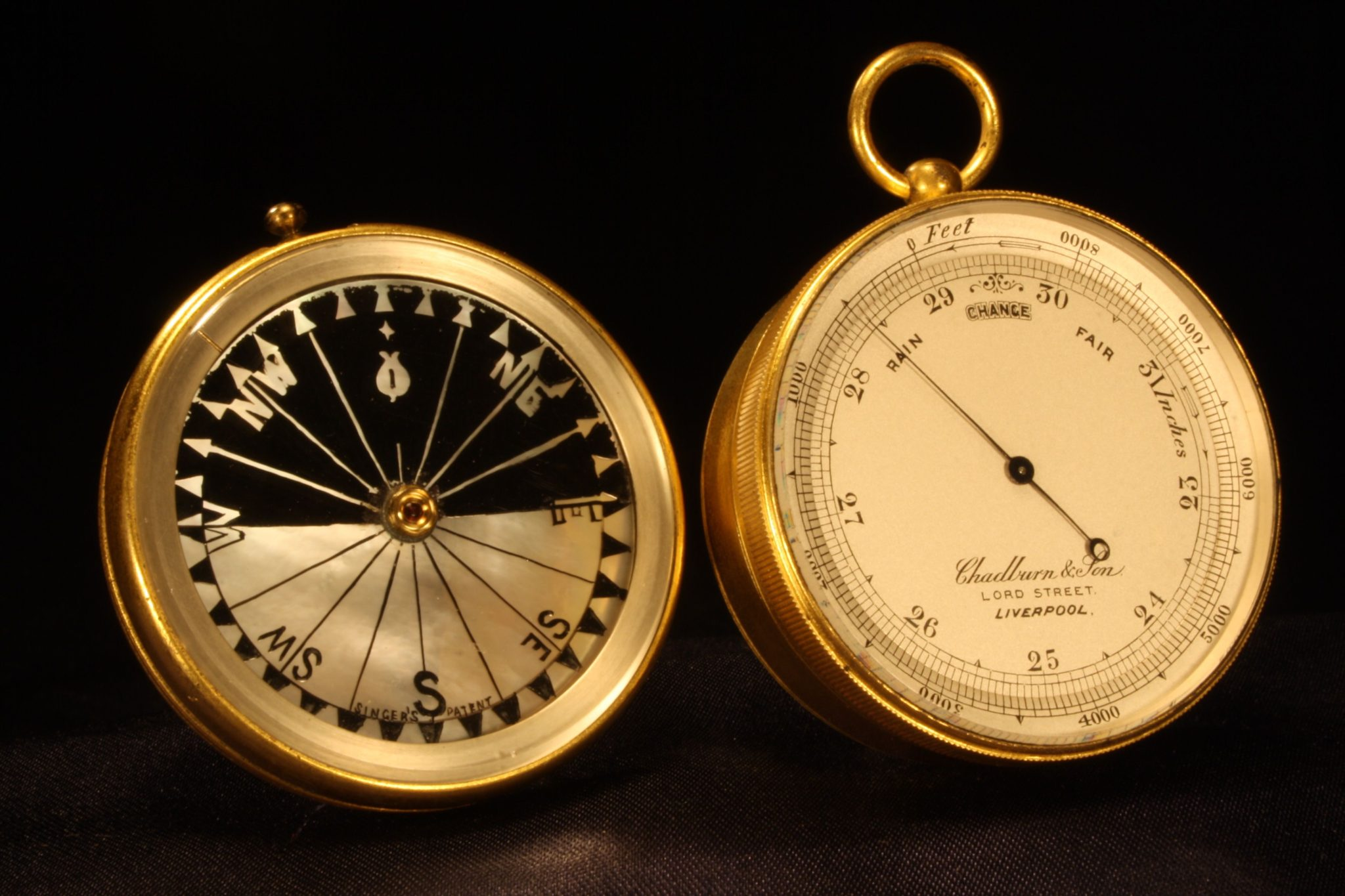 Image of Pocket Barometer Compendium by Chadburn & Son c1870