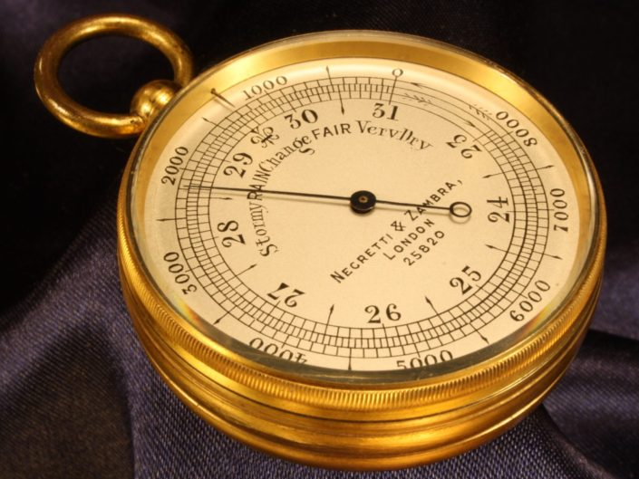 POCKET BAROMETER ALTIMETER BY NEGRETTI & ZAMBRA No 25820 c1915 - Sold