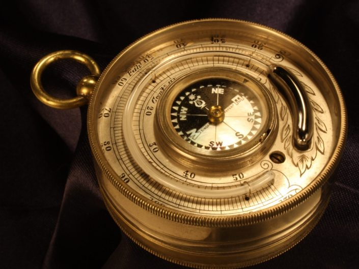 NICKEL BRASS BAROMETER ALTIMETER THERMOMETER COMPASS COMPENDIUM c1870 - Sold
