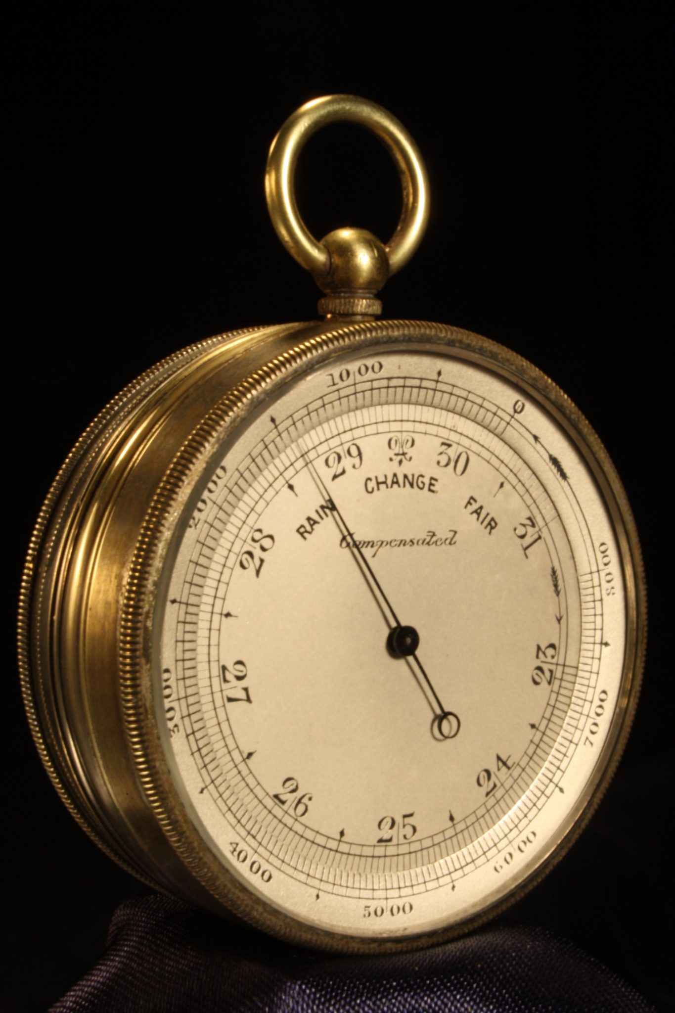 Image of Nickel Brass Pocket Barometer Compendium c1870