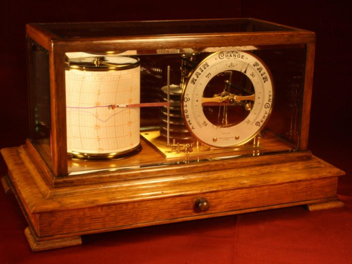 DRUM BAROGRAPH & BAROMETER BY SHORT & MASON c1920 - Sold