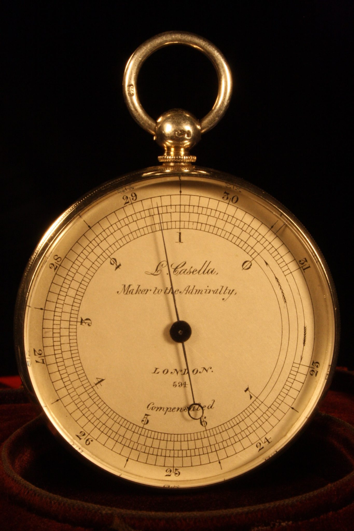 Image of Silver Pocket Barometer by Casella No 594 c1863