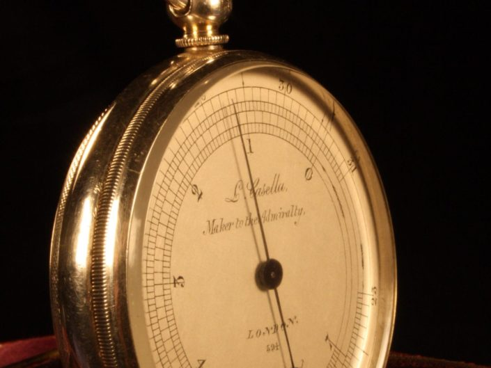 SILVER POCKET BAROMETER ALTIMETER BY CASELLA c1863 WITH CASE BY SMILEY