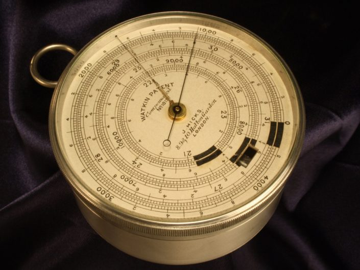 RARE ALUMINIUM WATKIN PATENT EXTENDED SCALE BAROMETER ALTIMETER BY HICKS No 1012 c1890