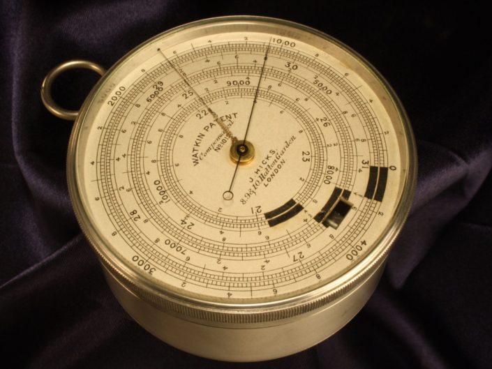 RARE ALUMINIUM WATKIN PATENT EXTENDED SCALE BAROMETER ALTIMETER BY HICKS No 1012 c1890