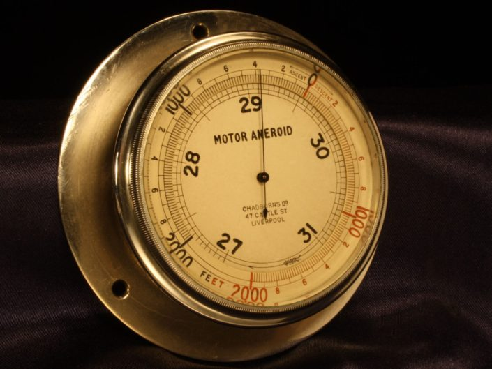 NICKEL PLATED BRASS MOTOR ANEROID BAROMETER ALTIMETER BY CHADBURNS c1915