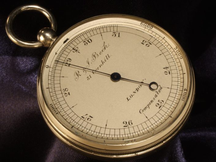 GERMAN SILVER POCKET BAROMETER BY NEGRETTI & ZAMBRA RETAILED BY BECK c1867
