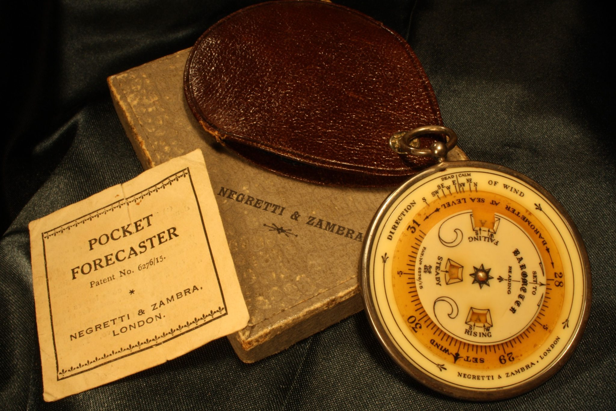 Image of Negretti & Zambra Silver Pocket Forecaster c1924