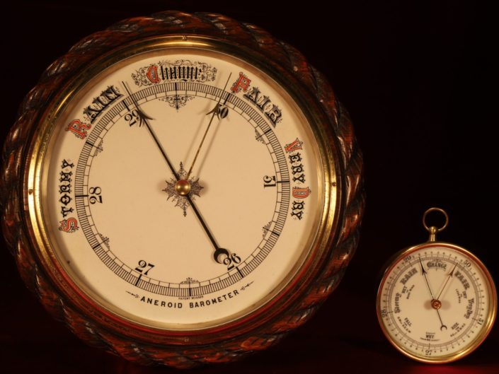 VERY LARGE VICTORIAN ANEROID BAROMETER c1890