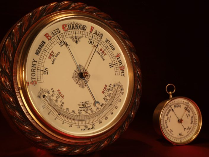 VERY LARGE VICTORIAN ANEROID BAROMETER WITH THERMOMETER c1885