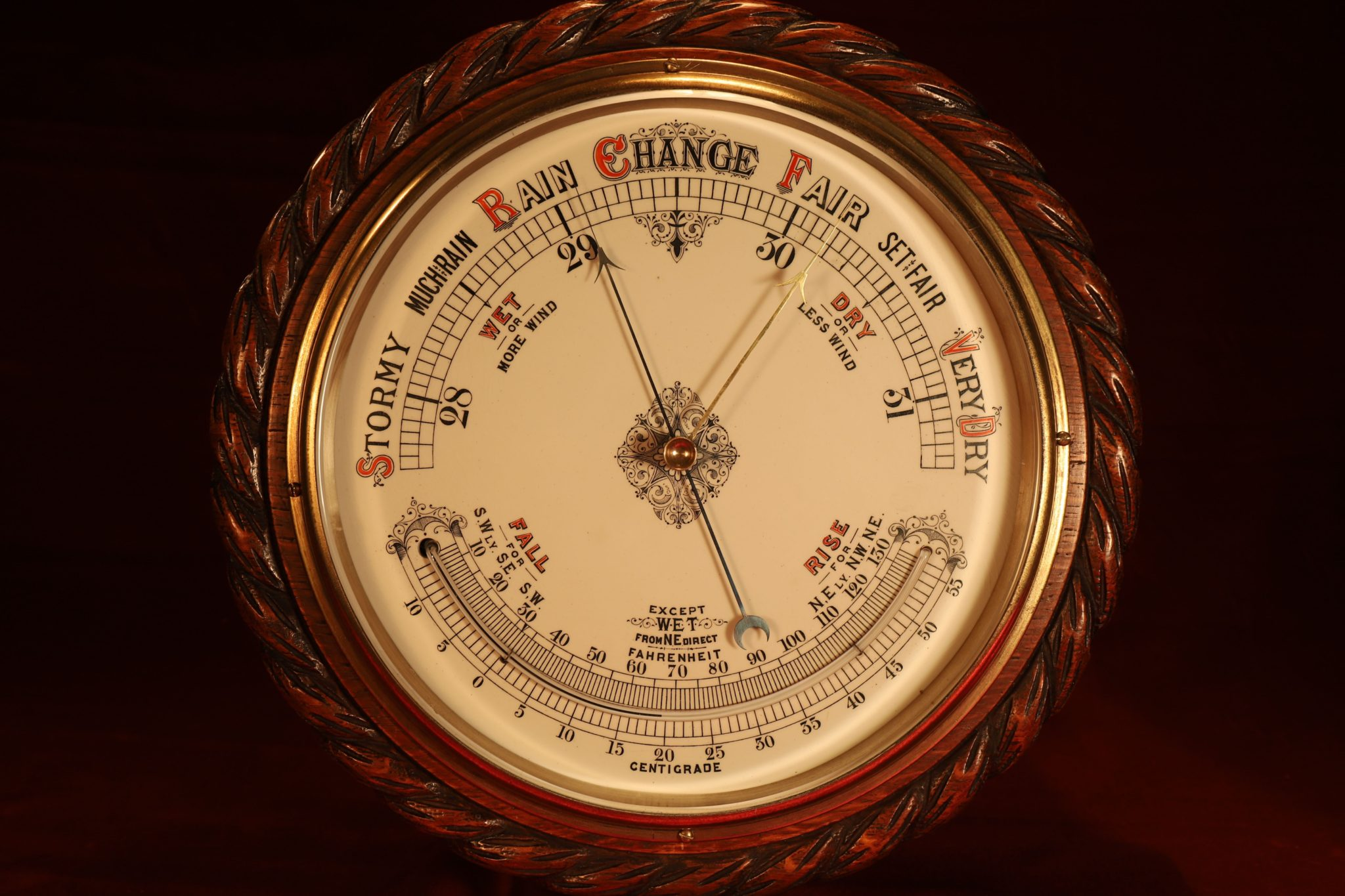 Image of Huge Victorian Aneroid Barometer & Thermometer c1885