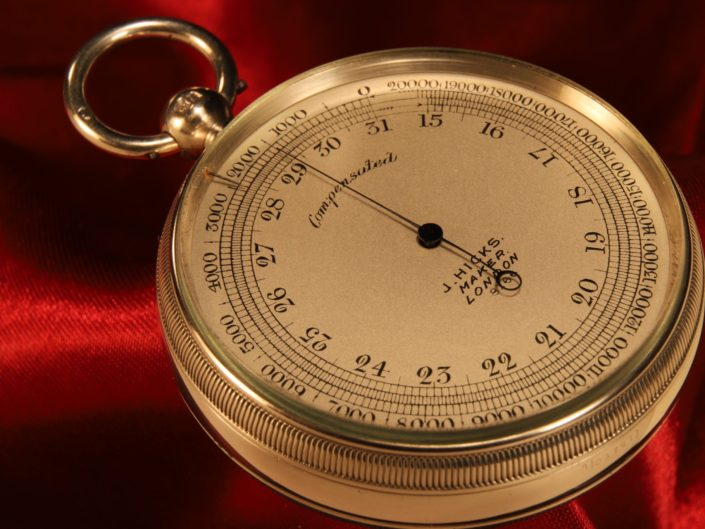 SILVER POCKET BAROMETER ALTIMETER BY HICKS No 8166 WITH CASE BY OLIVER c1906
