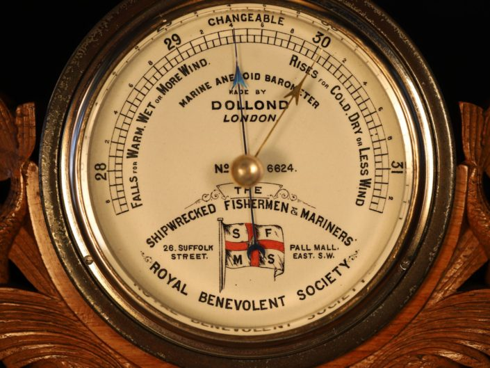 SHIPWRECKED FISHERMEN & MARINERS SOCIETY PRESENTATION MARINE BAROMETER BY DOLLOND