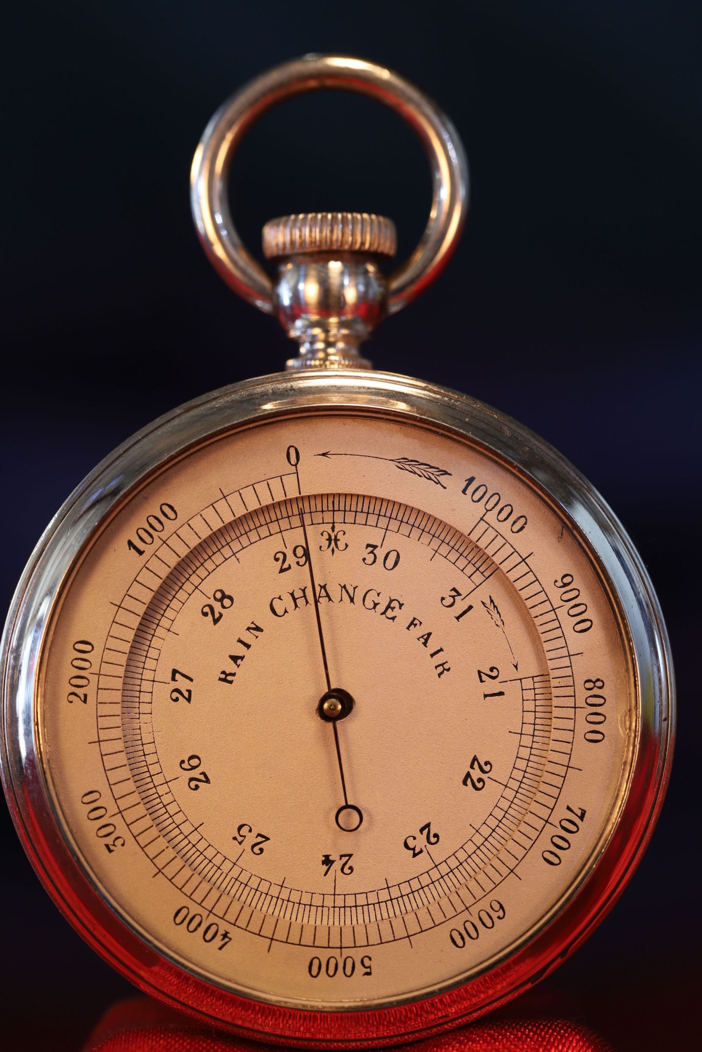 IImage of French Silver Pocket Barometer Compendium c1895